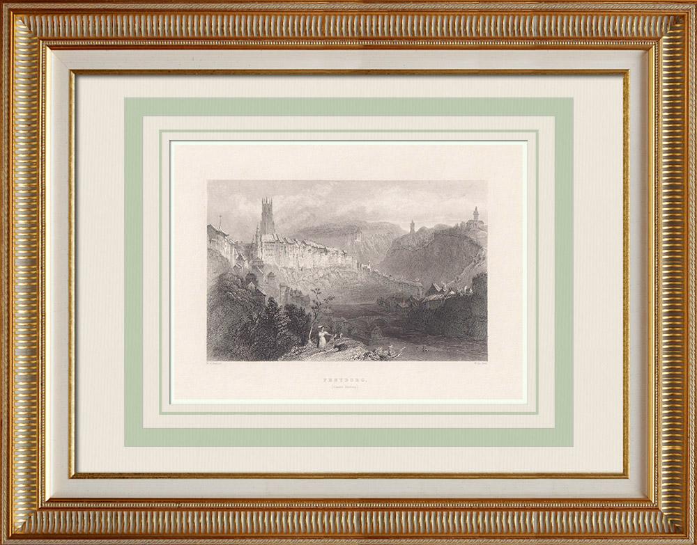 Antika Tryck & Ritningar | Vy över Freiburg - Katedral - Kanton Freiburg (Schweiz) | Stålstick | 1836