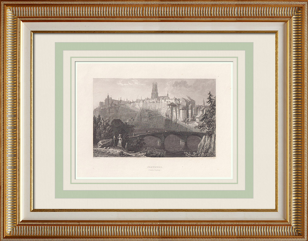 Antique Prints & Drawings | View of Fribourg - Cathedral of St. Nicolas - Sarine river (Switzerland) | Intaglio print | 1836
