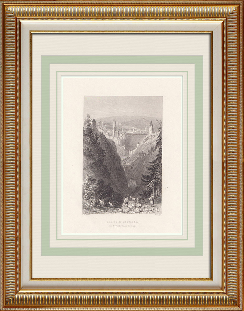 Antique Prints & Drawings | Crossing of Gotteron near Fribourg - Canton of Fribourg (Switzerland) | Intaglio print | 1836