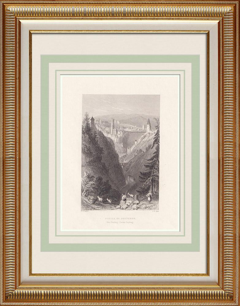 Stare Grafiki & Rysunki | Przejście Przez Gotteron w Pobliżu Fryburga - Kanton Fryburg (Szwajcaria) | Staloryt | 1836