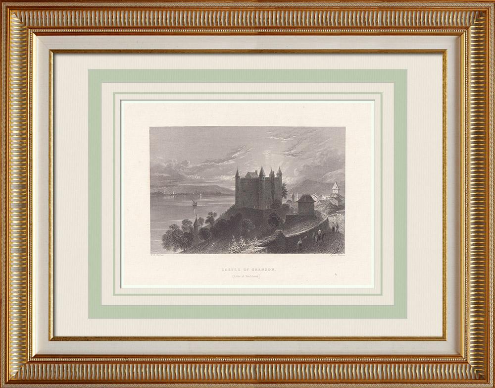 Gravures Anciennes & Dessins | Château de Grandson - Lac de Neuchâtell - Canton de Vaud (Suisse) | Taille-douce | 1836