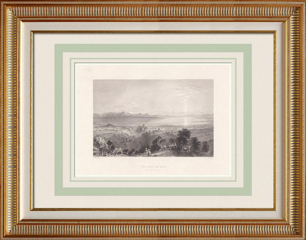 Oude Prenten & Tekeningen | Kanton de Vaud - Romandië - Meer Leman (Zwitserland) | Staalgravure | 1836