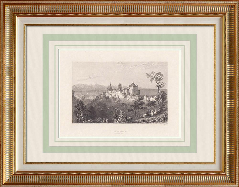 Antique Prints & Drawings | View of Lausanne - Castle - Canton de Vaud (Switzerland) | Intaglio print | 1836