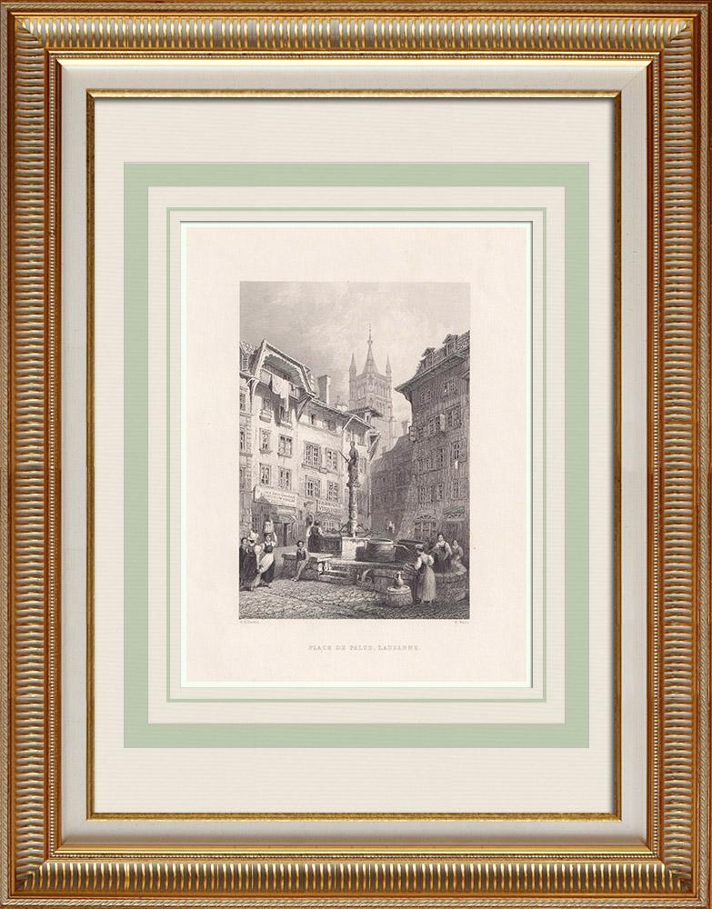 Grabados & Dibujos Antiguos | Place de la Palud en Lausana - Ayuntamiento (Suiza) | Grabado en talla dulce | 1836
