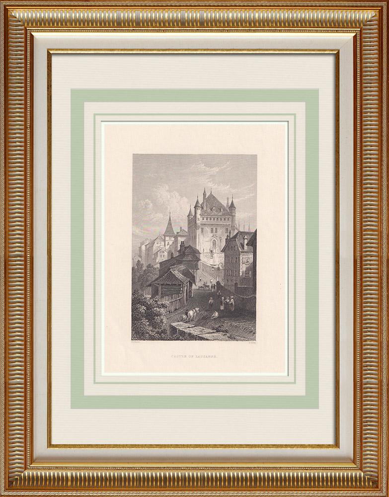 Antika Tryck & Ritningar | Saint-Maire Borg i Lausanne - Kanton Waadt (Schweiz) | Stålstick | 1836