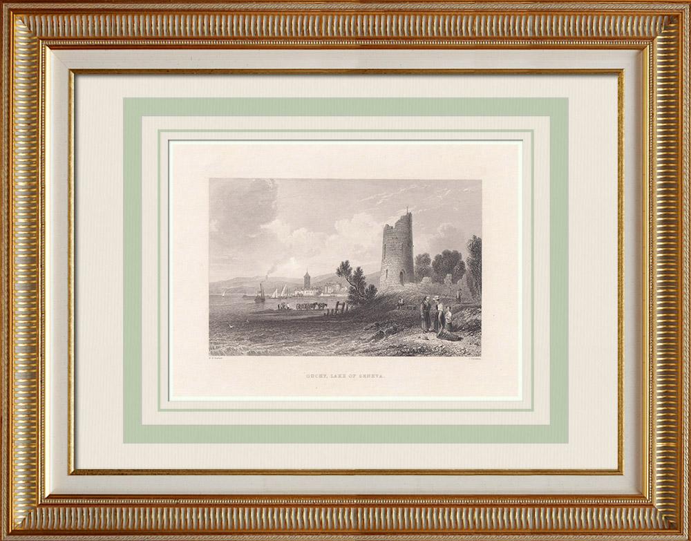 Oude Prenten & Tekeningen | Gezicht op Ouchy - Lausanne - Kanton de Vaud - Meer Léman (Zwitserland) | Staalgravure | 1836