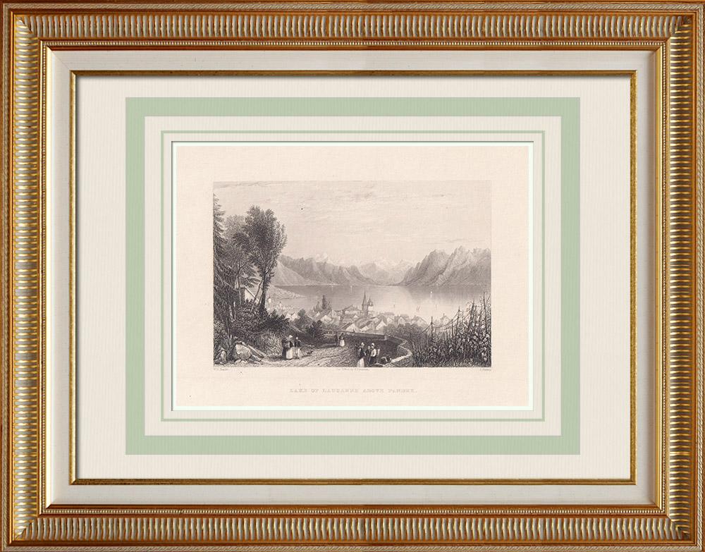 Antika Tryck & Ritningar | Lake of Lausanne ovanför Paudex - Kanton Waadt (Schweiz) | Stålstick | 1836