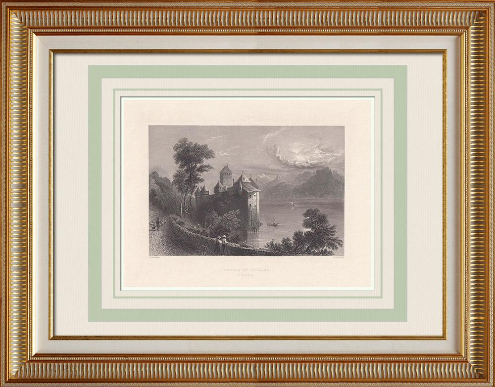 Stare Grafiki & Rysunki | Zamek - Zamek Chillon - Jezioro Geneva - Canton de Vaud (Szwajcaria) | Staloryt | 1836
