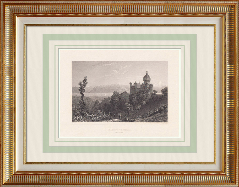 Oude Prenten & Tekeningen | Kasteel Vufflens - Kanton de Vaud (Zwitserland) | Staalgravure | 1836