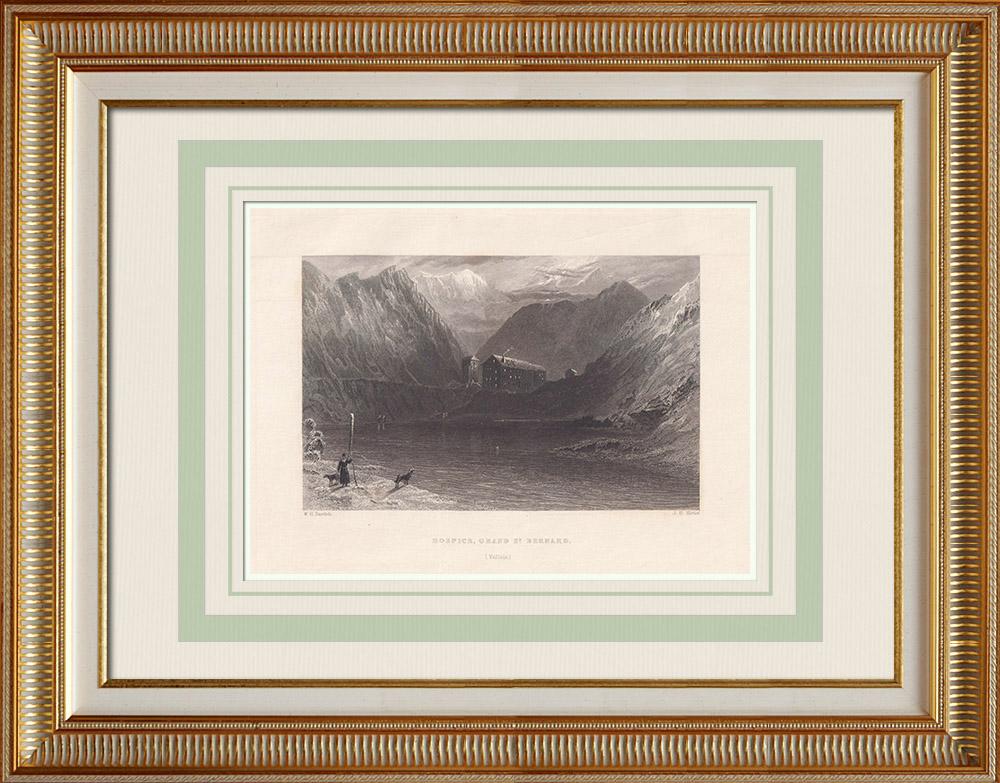 Antika Tryck & Ritningar | Hospice av Sankt Bernhard - Sankt Bernhardspasset - Alperna (Schweiz) | Stålstick | 1836