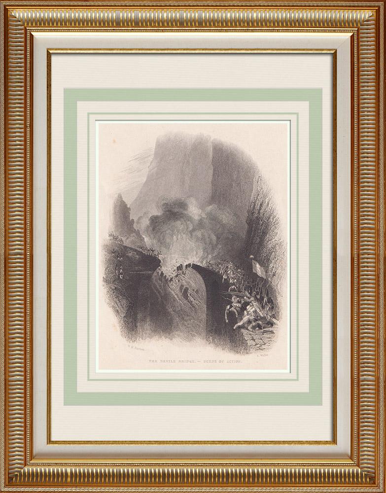 Gravures Anciennes & Dessins | Pont du Diable - Bataille - Col du Saint-Gothard (Suisse) | Taille-douce | 1836