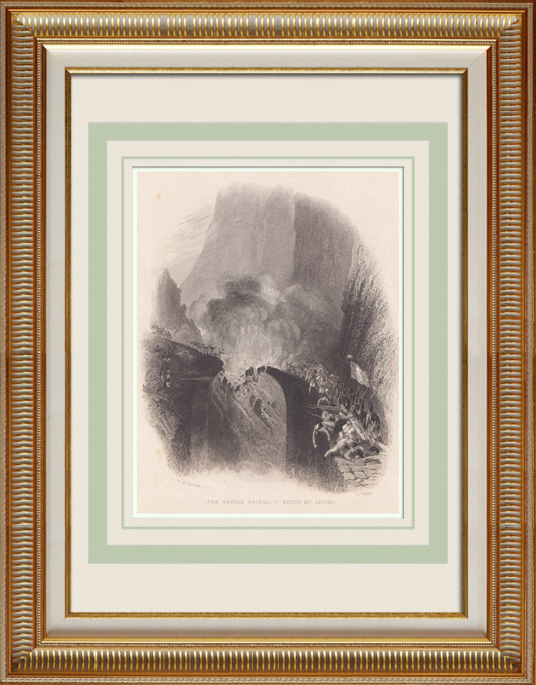 Antique Prints & Drawings | Devil's bridge - Battle - Gotthard Pass (Switzerland) | Intaglio print | 1836