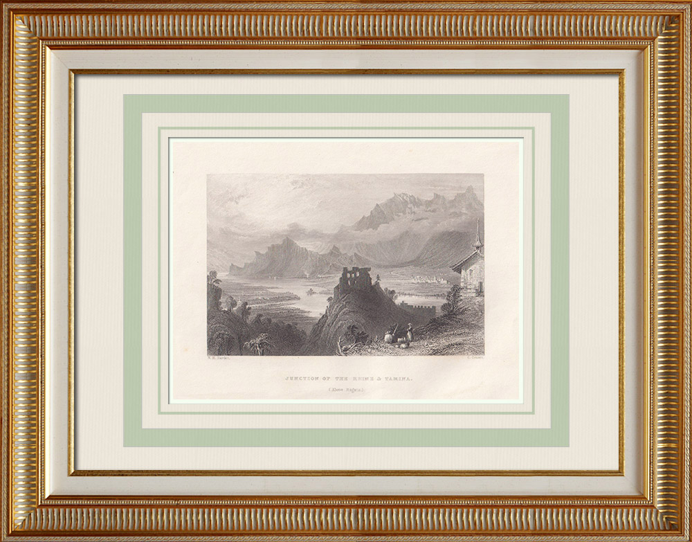 Antique Prints & Drawings | Junction of the Rhine and Tamina near Bad Ragaz - Canton of St. Gallen (Switzerland) | Intaglio print | 1836