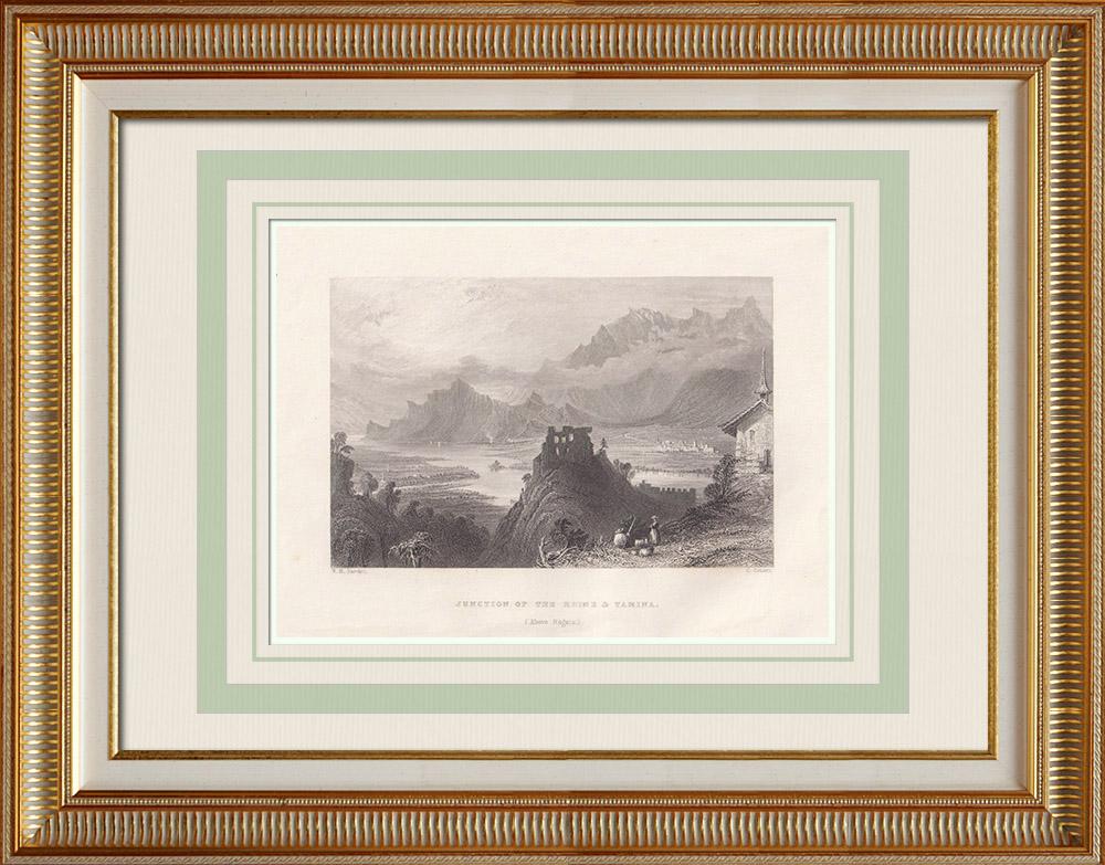 Oude Prenten & Tekeningen | Kruising van de Rijn en Tamina Nabij Bad Ragaz - Kanton St. Gallen (Zwitserland) | Staalgravure | 1836