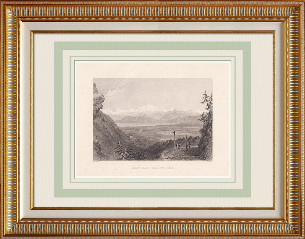 Stare Grafiki & Rysunki | Widok Mont Blanc - Monte Bianco - Canton of Valais (Szwajcaria) | Staloryt | 1836