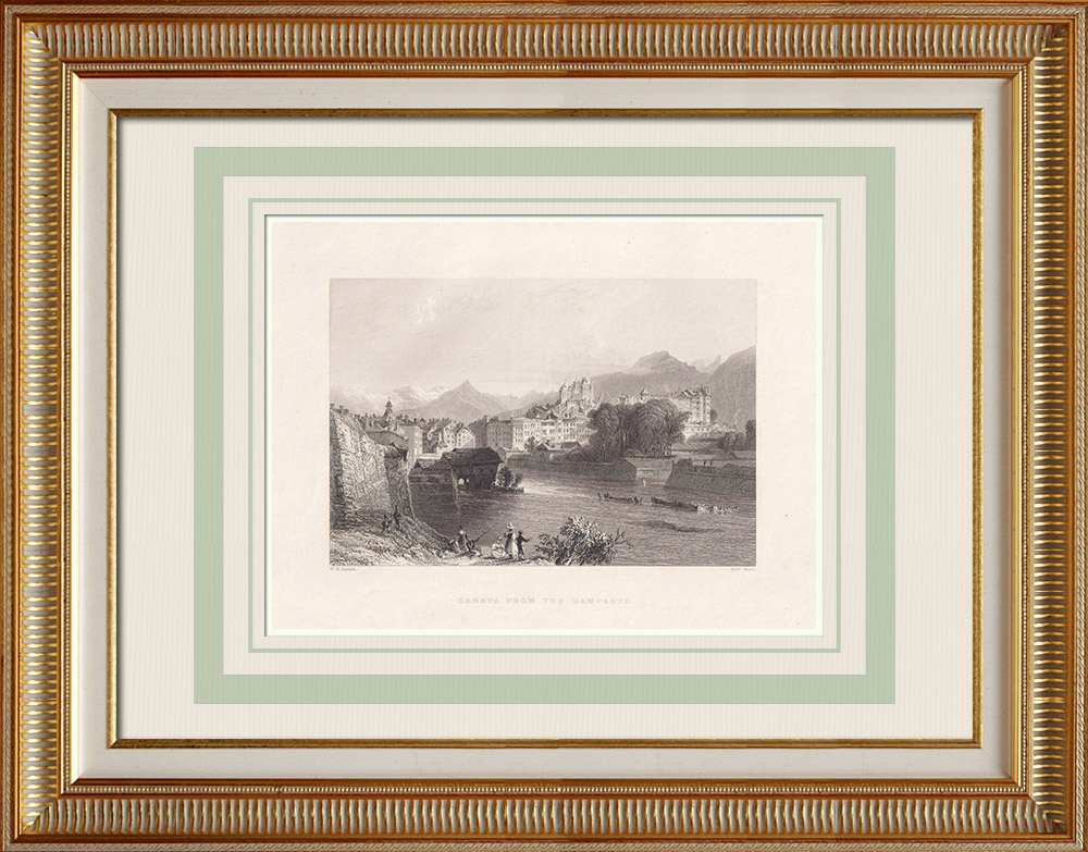 Antique Prints & Drawings | Geneva seen from the ramparts - Canton of Geneva (Switzerland) | Intaglio print | 1836
