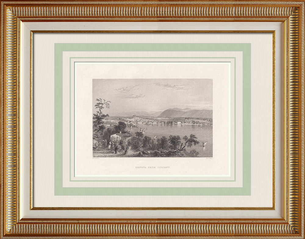 Antique Prints & Drawings | View of Geneva taken from Coligny (Switzerland) | Intaglio print | 1836