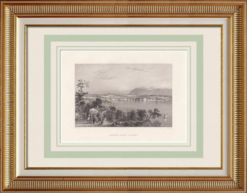 Grabados & Dibujos Antiguos | Vista de Ginebra tomada desde Coligny (Suiza) | Grabado en talla dulce | 1836