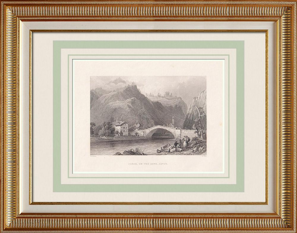 Antika Tryck & Ritningar | Vy över Cluses - Arve - Haute-Savoie (Frankrike)  | Stålstick | 1836