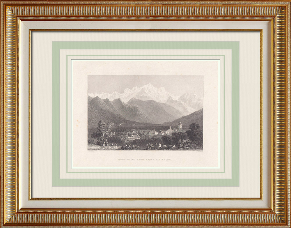 Antique Prints & Drawings | Mont Blanc seen from Sallanches - Haute-Savoie (France) | Intaglio print | 1836