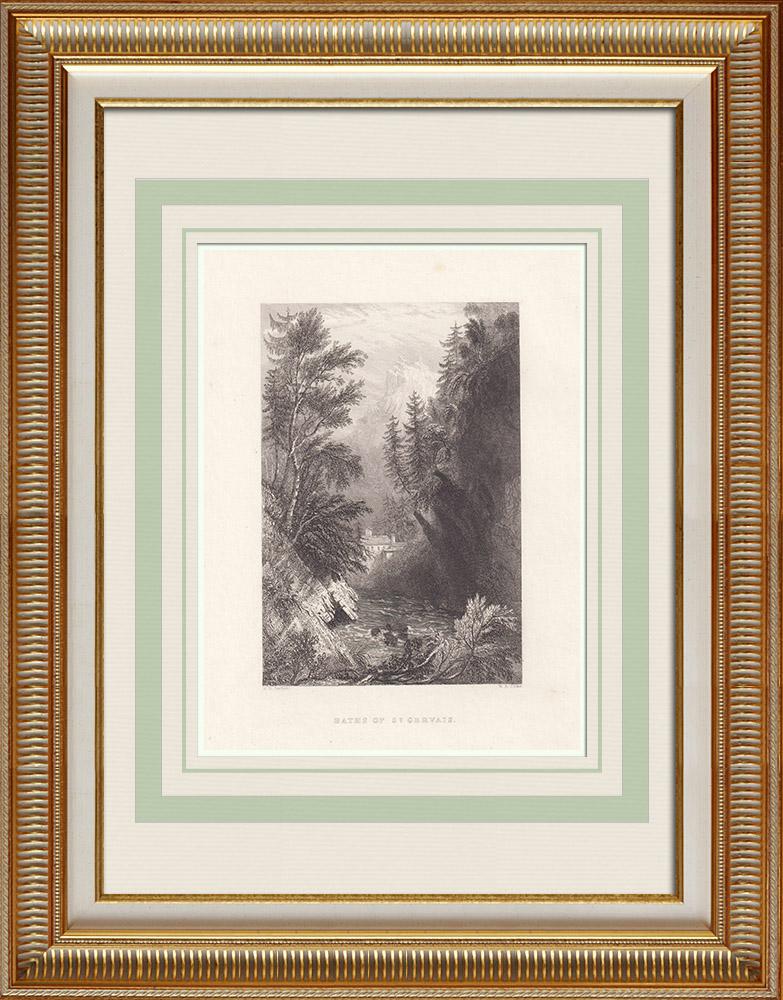 Grabados & Dibujos Antiguos | Termas - Saint-Gervais-les-Bains - Alta Saboya (Francia) | Grabado en talla dulce | 1836