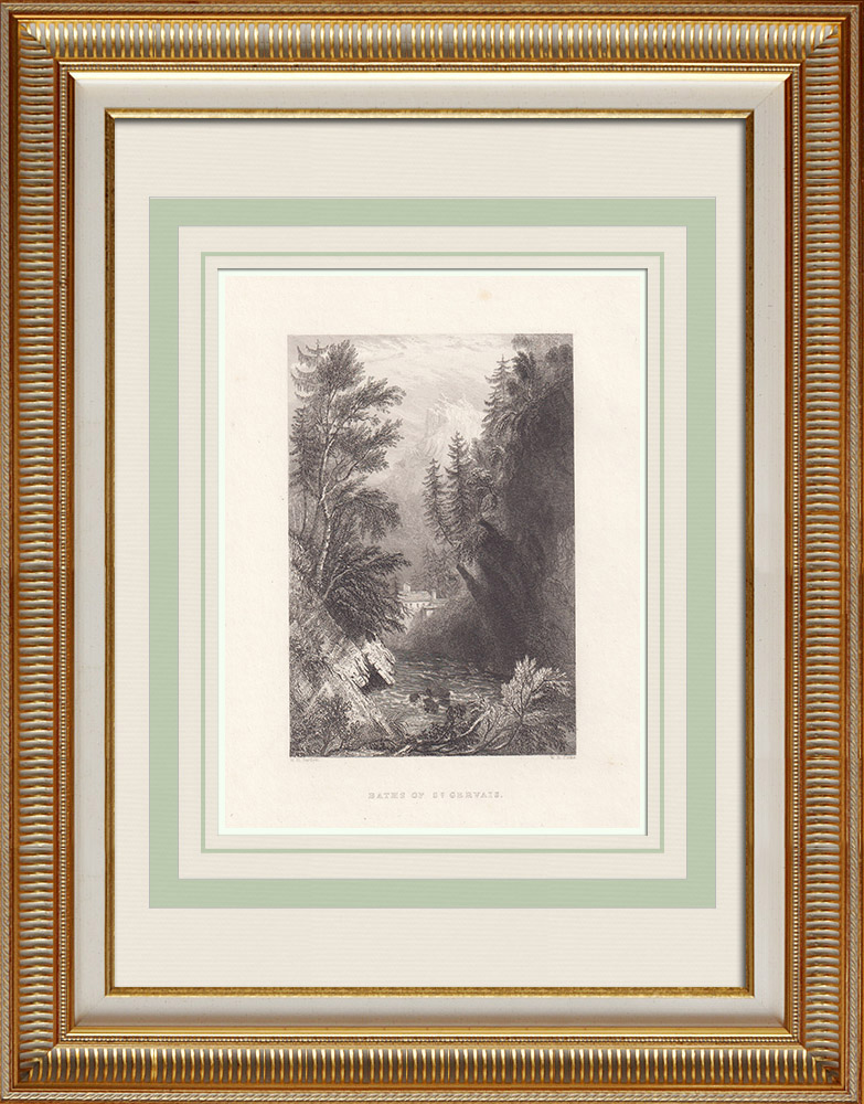 Antika Tryck & Ritningar | Termer - Saint-Gervais-les-Bains - Haute-Savoie (Frankrike) | Stålstick | 1836
