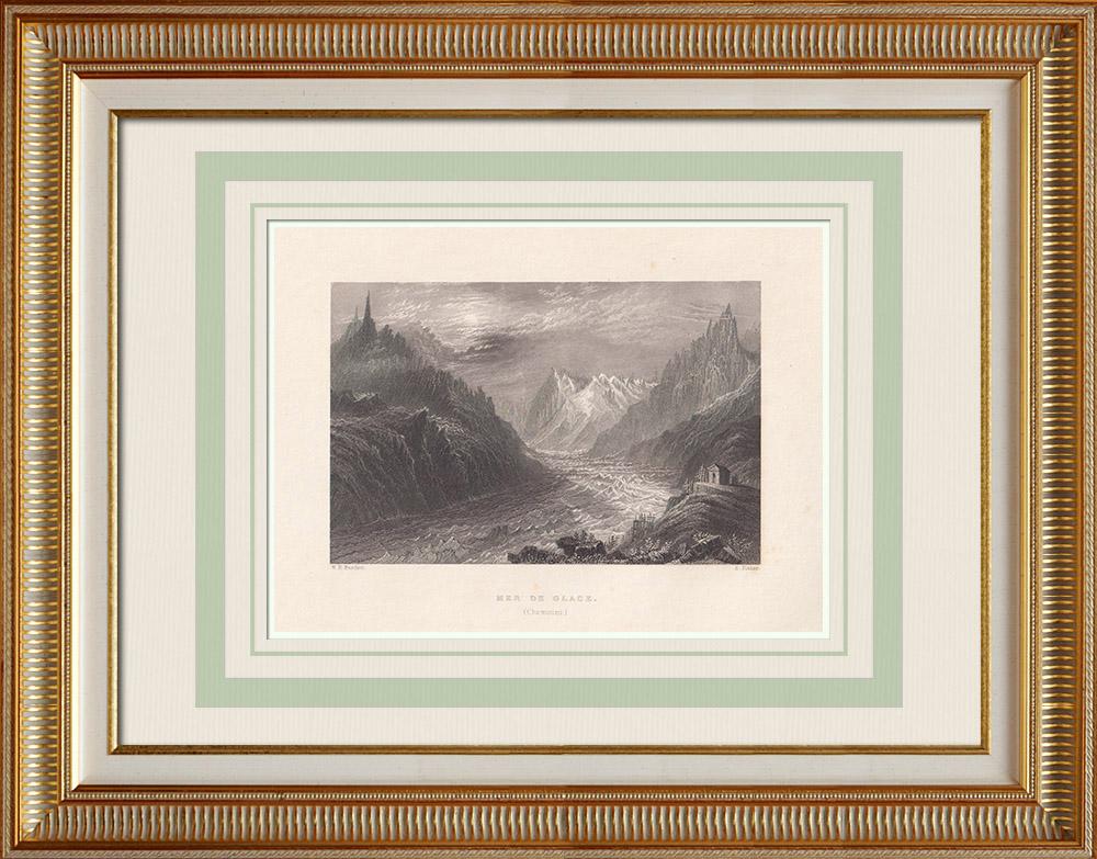 Gravures Anciennes & Dessins | Mer de Glace - Chamonix - Haute-Savoie (France) | Taille-douce | 1836