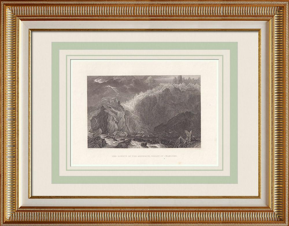Grabados & Dibujos Antiguos | Arveyron - Torrente de la Mer de Glace - Chamonix - Alta Saboya (Francia) | Grabado en talla dulce | 1836