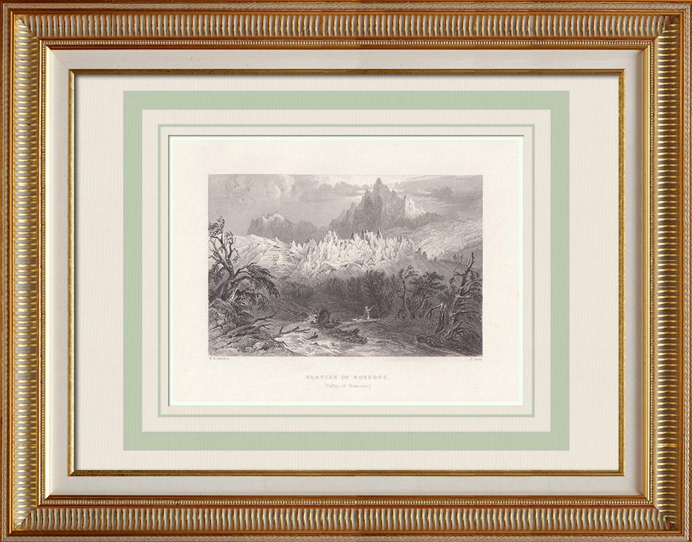 Antika Tryck & Ritningar | Vy över Glacier des Bossons - Alperna - Haute-Savoie (Frankrike) | Stålstick | 1836