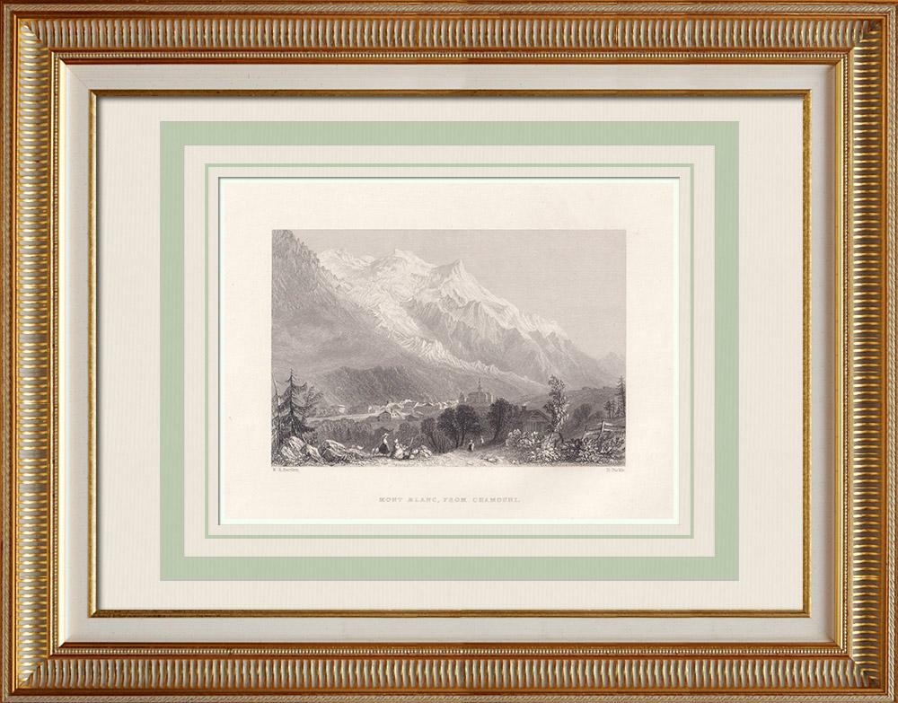 Gravures Anciennes & Dessins | Le Mont Blanc vu de Chamonix - Haute-Savoie (France) | Taille-douce | 1836