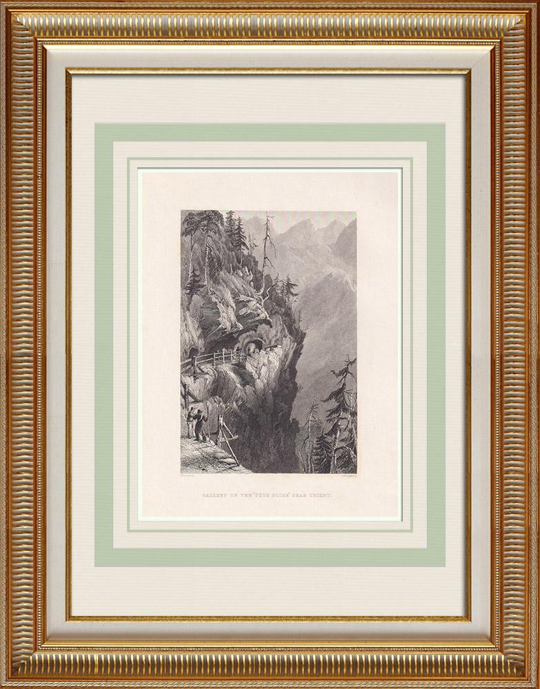 Grabados & Dibujos Antiguos | Vista de Trient - Gorges de Tête Noire - Cantón del Valais - Vales - Vallés (Suiza) | Grabado en talla dulce | 1836