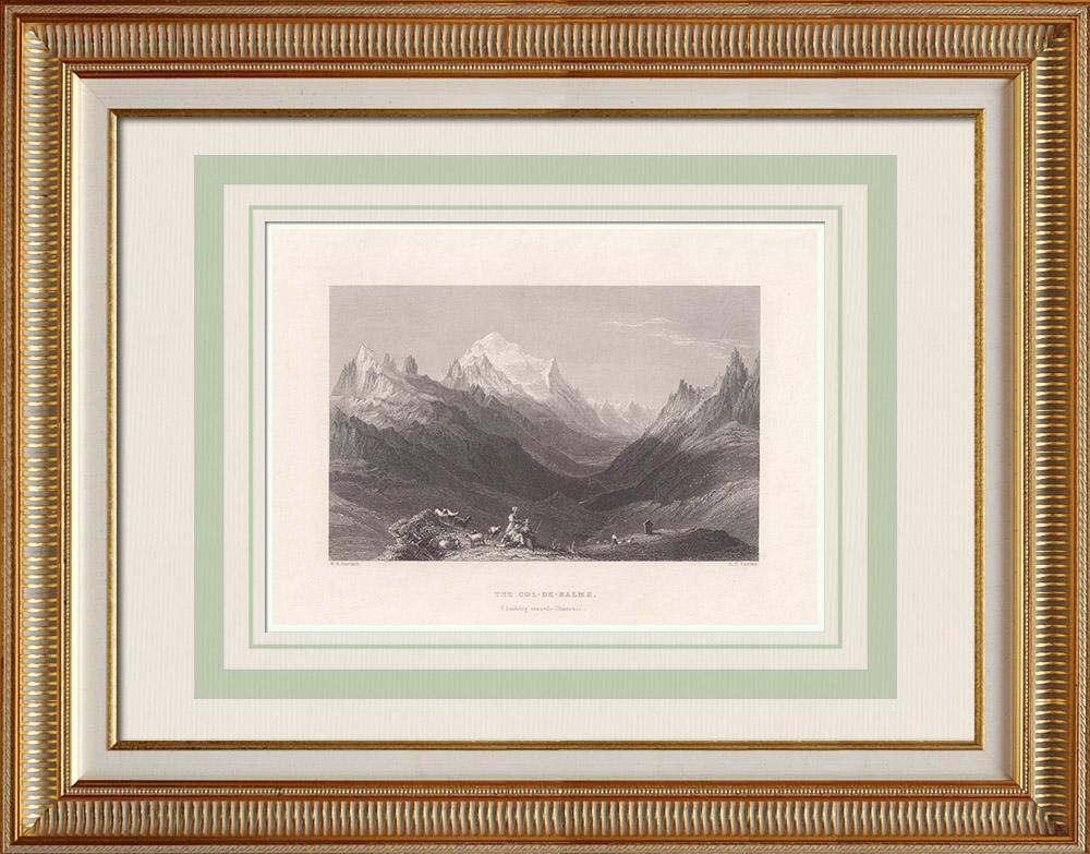 Antique Print & Etching | Ansicht von Col de Balme (französisch-schweizerische Grenze) | Stahlstich | 1836