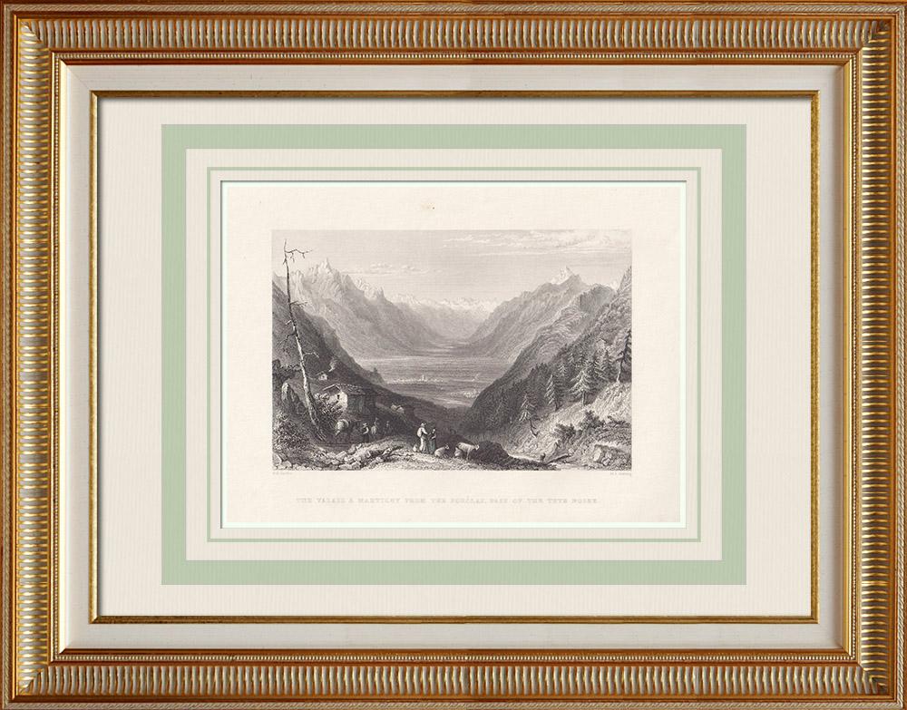 Gravures Anciennes & Dessins | Vue de Martigny - Canton du Valais (Suisse) | Taille-douce | 1836