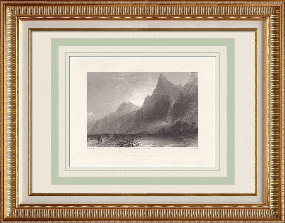 Antique Prints & Drawings | Pissevache waterfall - Canton of Valais (Switzerland) | Intaglio print | 1836