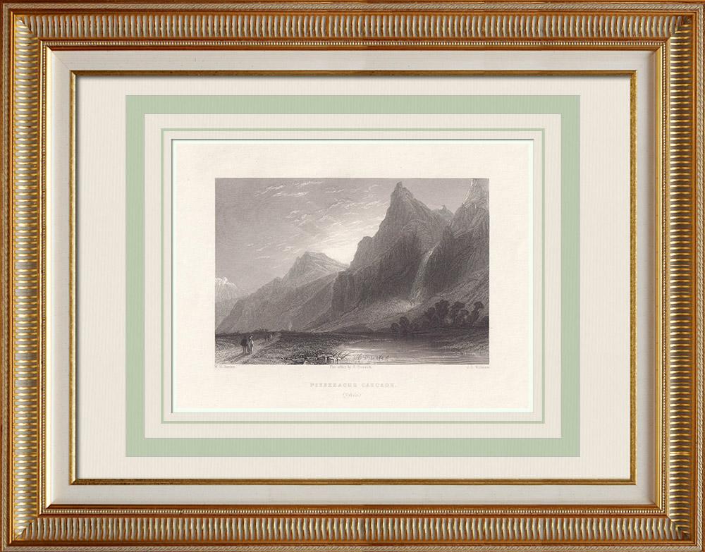Antique Print & Etching | Pissevache Wasserfall - Kanton Wallis (Schweiz) | Stahlstich | 1836