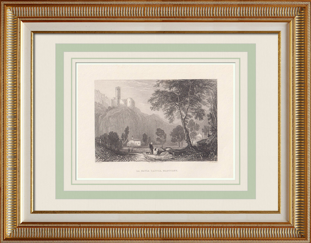 Antique Prints & Drawings | La Bâtiaz Castle in Martigny - Canton of Valais (Switzerland) | Intaglio print | 1836