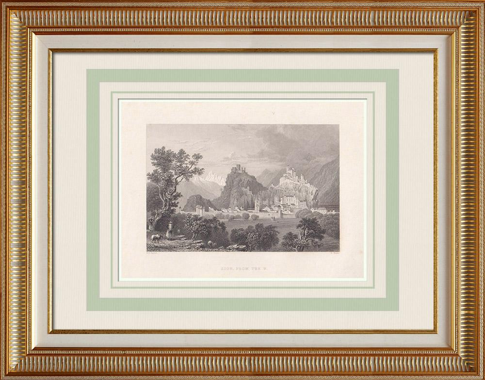 Oude Prenten & Tekeningen | Gezicht op Sion - Basiliek - Kanton Wallis (Zwitserland) | Staalgravure | 1836