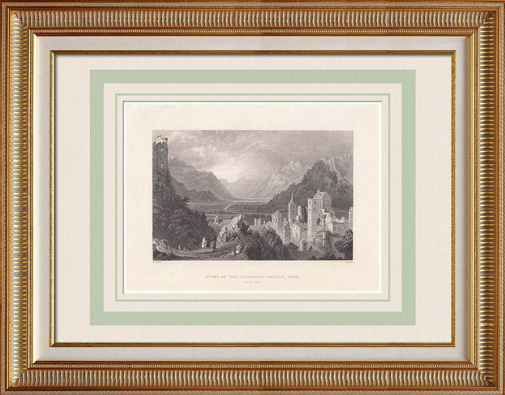 Antika Tryck & Ritningar | Fördärvar av episcopal Palace i Sion - Kanton Valais (Schweiz) | Stålstick | 1836