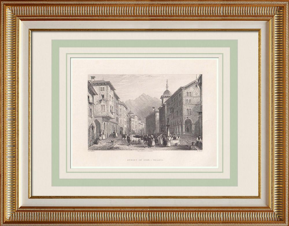 Antika Tryck & Ritningar | En gata i Sion - Kanton Valais (Schweiz) | Stålstick | 1836