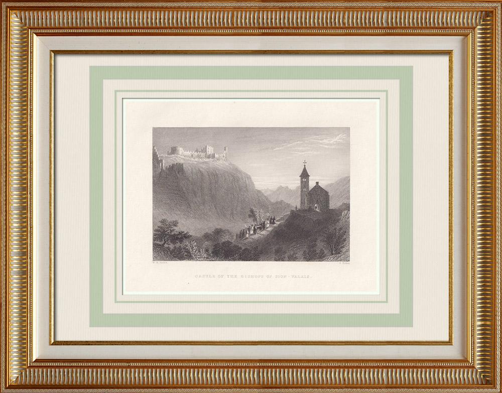 Grabados & Dibujos Antiguos | Castillo episcopal de Sion - Cantón del Valais (Suiza) | Grabado en talla dulce | 1836