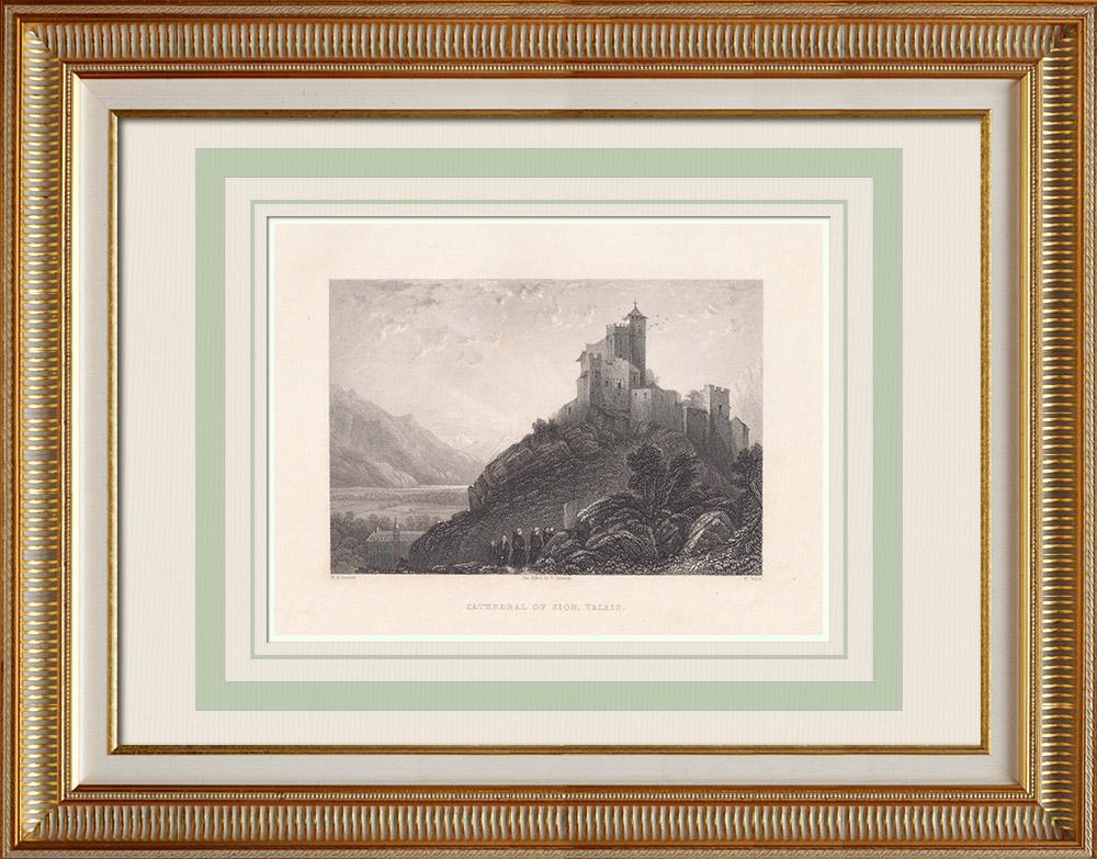 Grabados & Dibujos Antiguos | Catedral de Sion - Cantón del Valais (Suiza) | Grabado en talla dulce | 1836