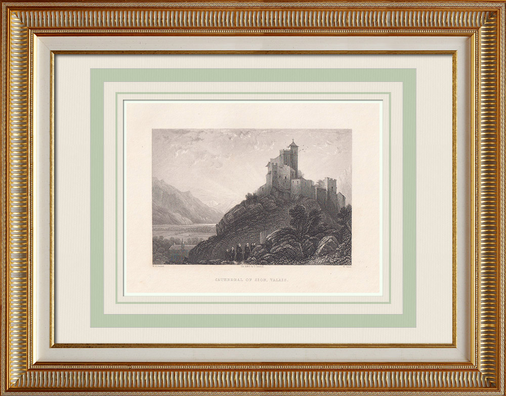 Oude Prenten & Tekeningen | Kathedraal van Sion - Kanton Valais (Zwitserland) | Staalgravure | 1836