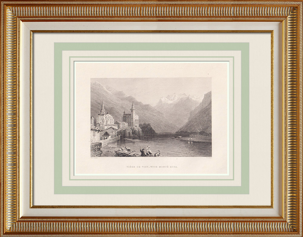 Antique Prints & Drawings | View of Visp - Rhone - Canton of Valais (Switzerland)  | Intaglio print | 1836