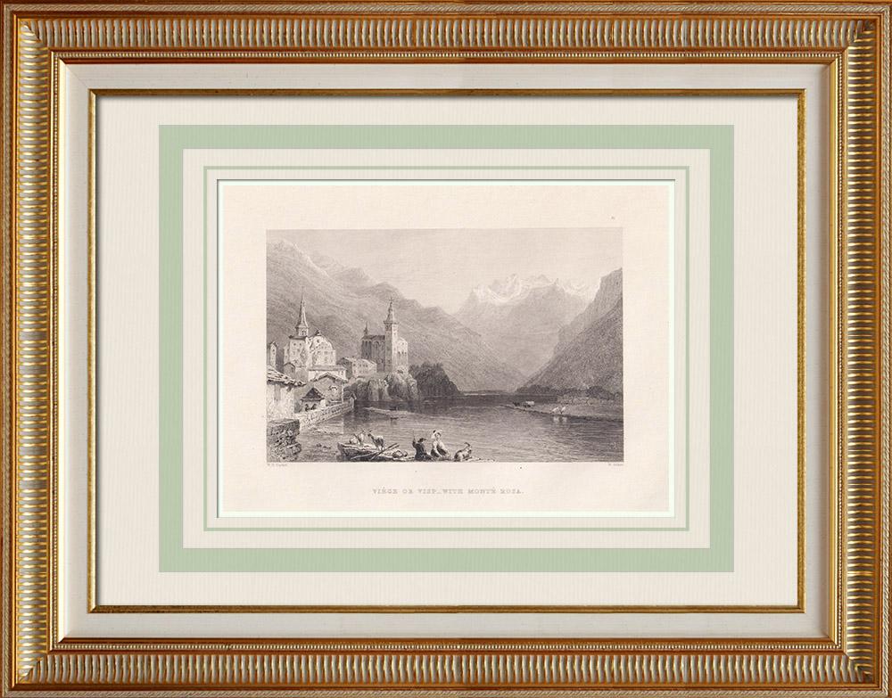 Stampe Antiche & Disegni | Veduta di Visp - Rodano - Canton Vallese (Svizzera)  | Stampa calcografica | 1836
