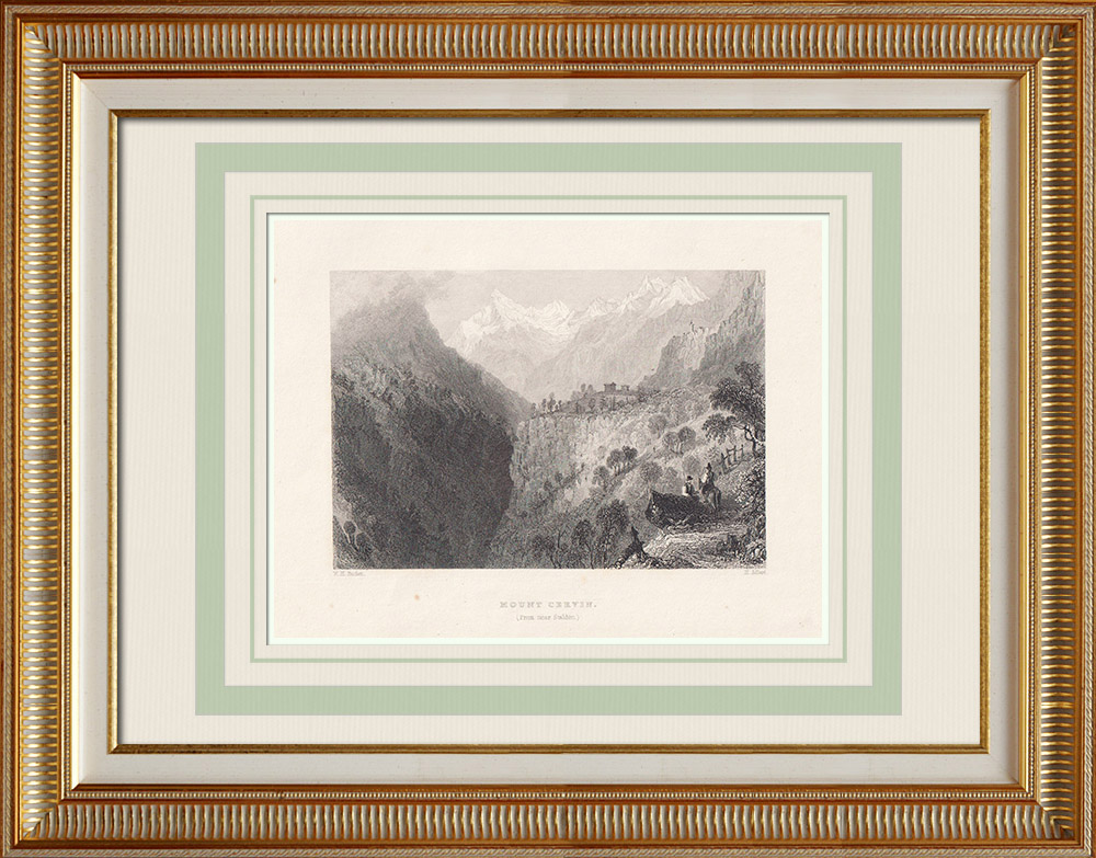 Antique Prints & Drawings | View of the Matterhorn - Canton du Valais (Switzerland) | Intaglio print | 1836
