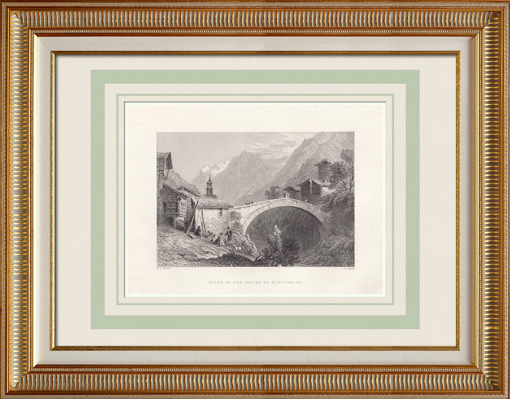 Oude Prenten & Tekeningen | Gezicht op the Matter Valley - Zermatt - Kanton Wallis (Zwitserland) | Staalgravure | 1836