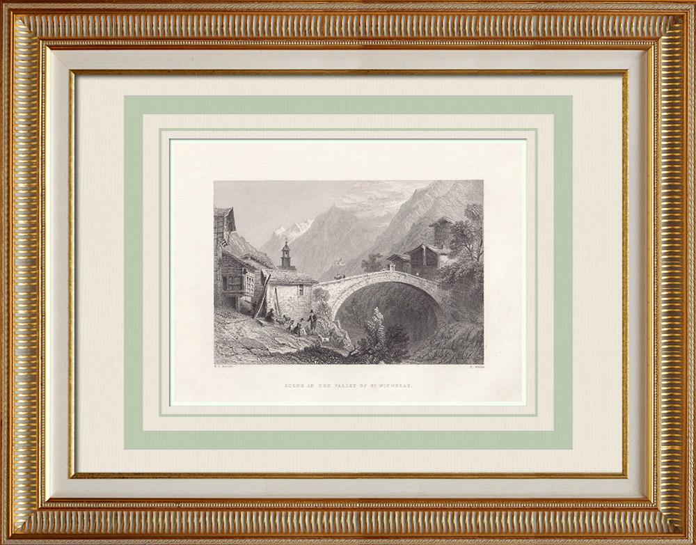 Stare Grafiki & Rysunki | Widok Dolina Materii - Zermatt - Kanton Valais (Szwajcaria) | Staloryt | 1836