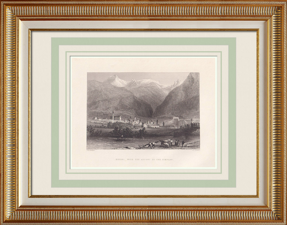 Antique Prints & Drawings | View of Brieg with the ascent of the Simplon - Canton of Valais (Switzerland) | Intaglio print | 1836