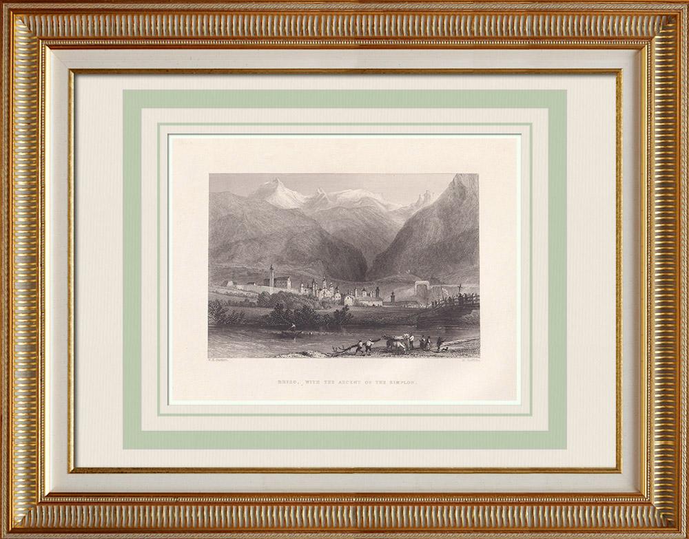 Stare Grafiki & Rysunki | Widok Brieg ze Zdobyciem Simonu - Kanton Valais (Szwajcaria) | Staloryt | 1836