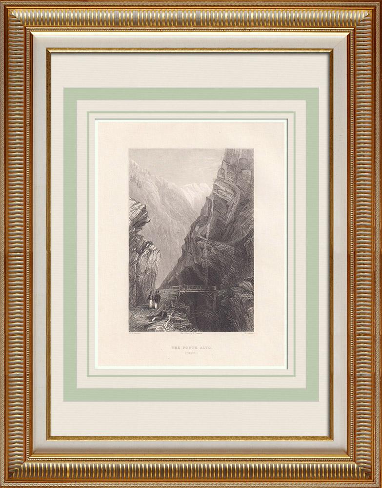 Antika Tryck & Ritningar | Väg Simplons uppgång - Ponte Alto - Kanton Valais (Schweiz) | Stålstick | 1836